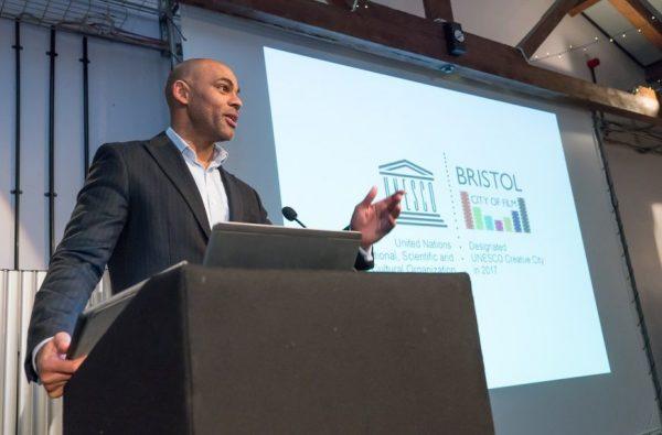 Mayor of Bristol, Marvin Rees, presents Bristol UNESCO City of Film